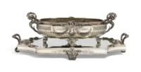AN AUSTRIAN SILVER JARDINIERE AND MIRROR-PLATEAU