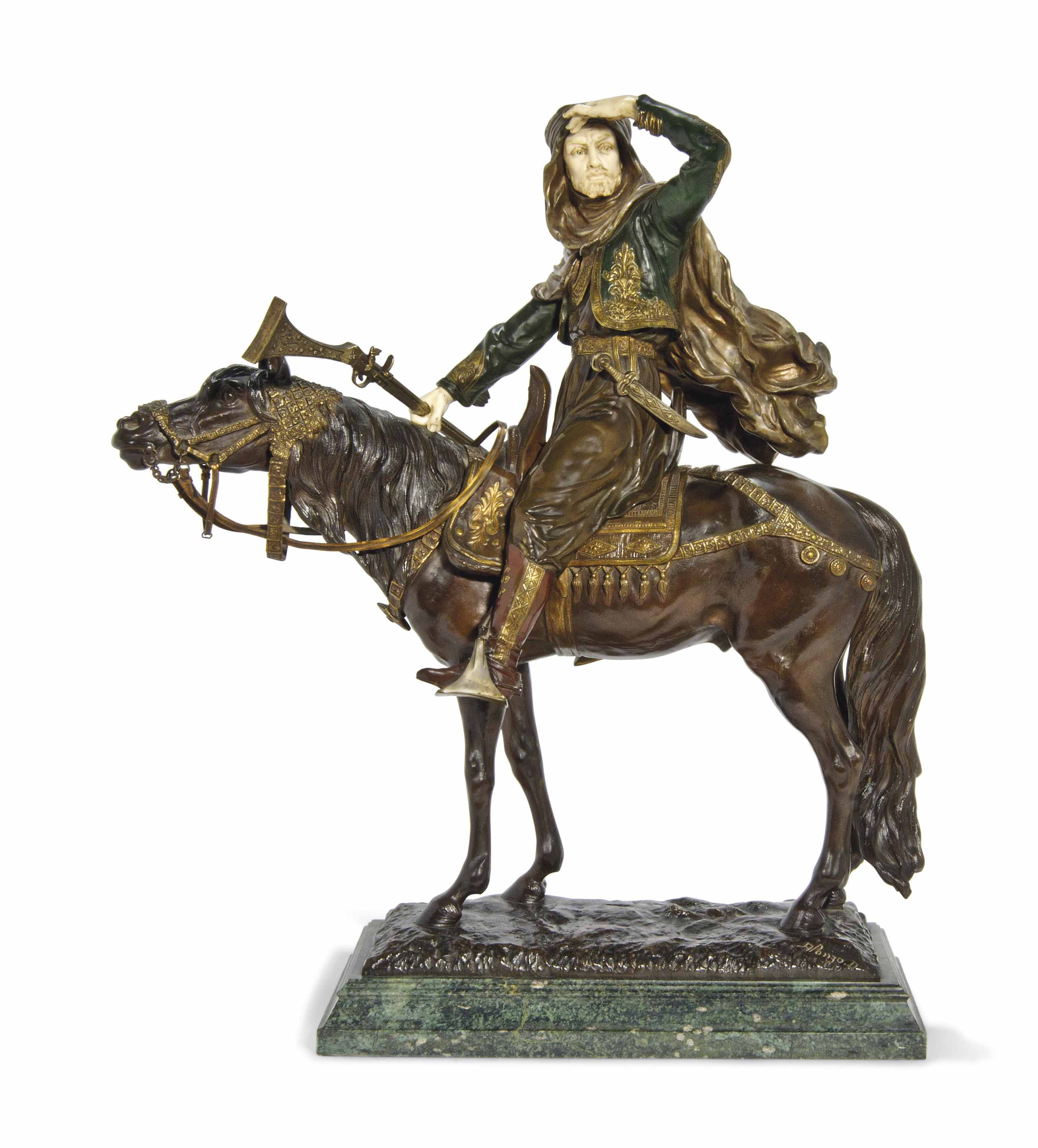 A FRENCH BRONZE AND IVORY ARAB
