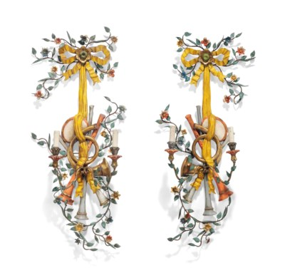 A PAIR OF ITALIAN POLYCHROME-P