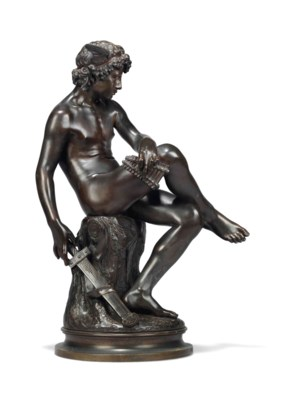A FRENCH BRONZE FIGURE OF MERC