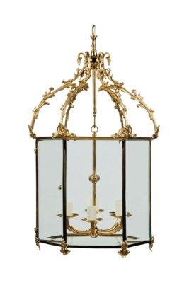 A VICTORIAN ORMOLU HALL LANTER