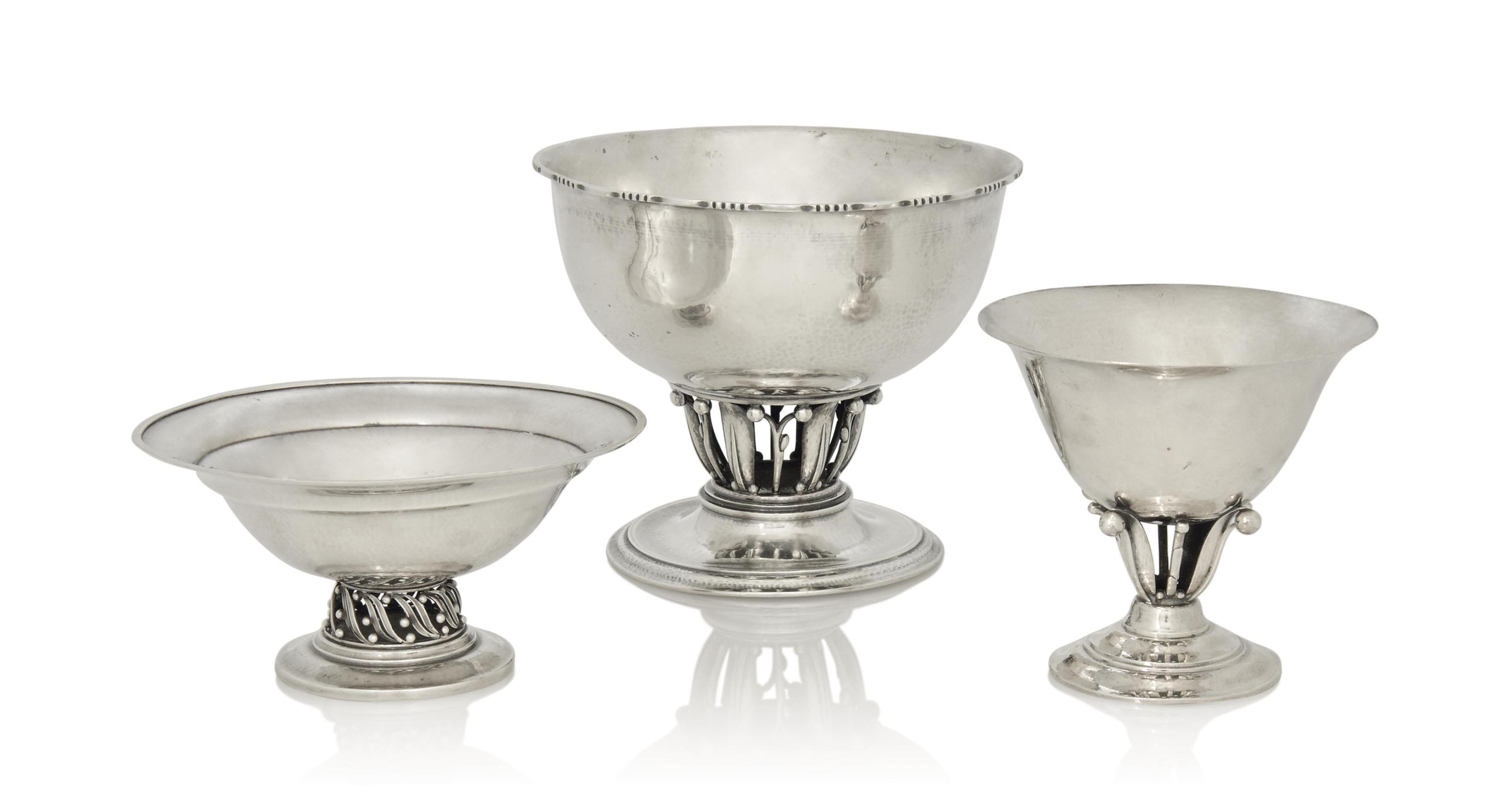 THREE GEORG JENSEN SILVER BOWL