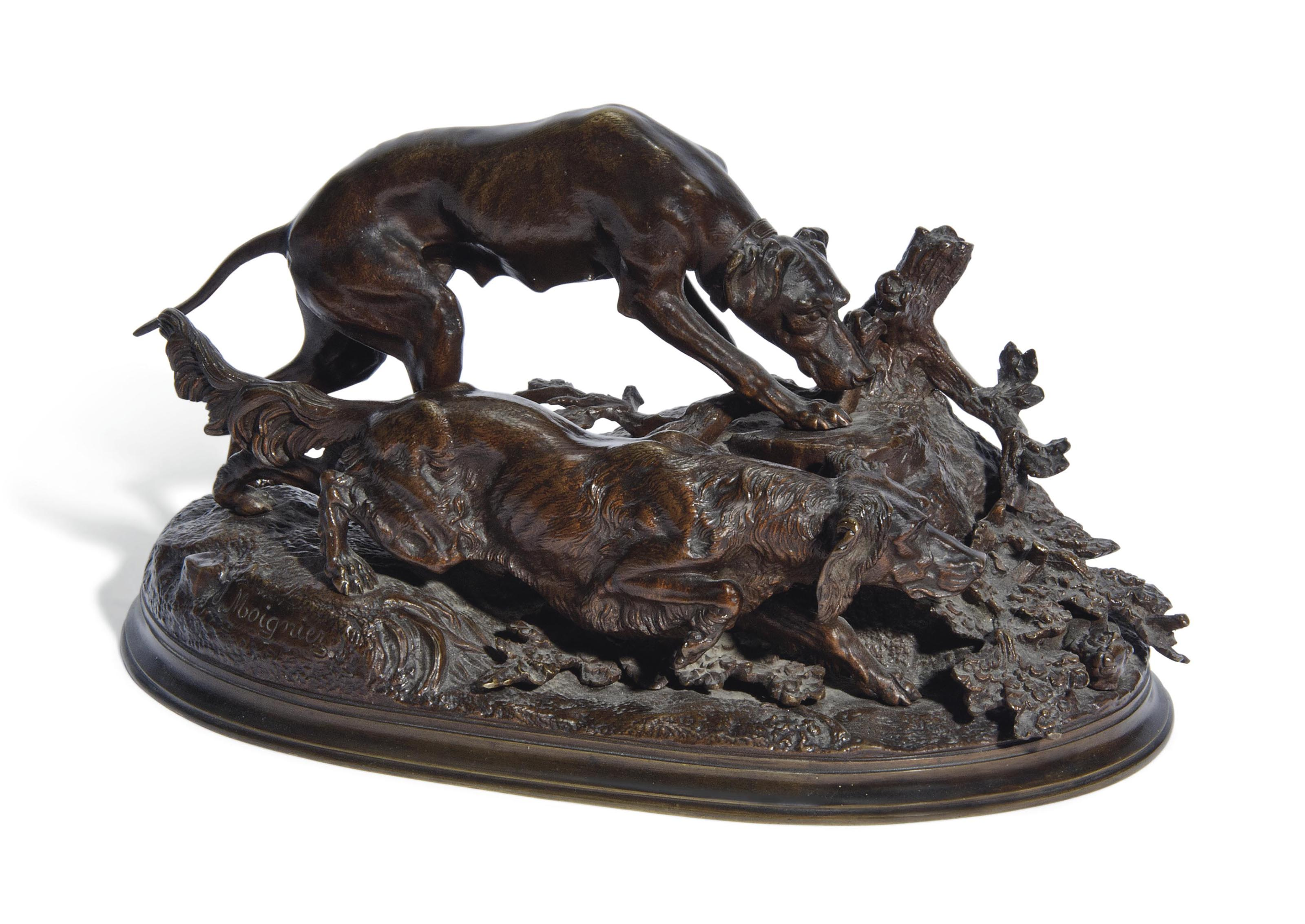 A FRENCH BRONZE GROUP OF A SETTER, A POINTER AND A HARE