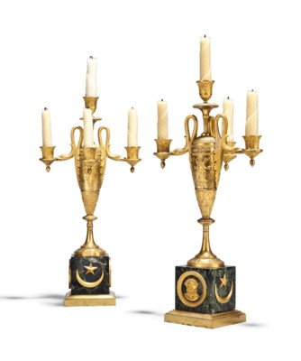 A PAIR OF EMPIRE ORMOLU AND MA