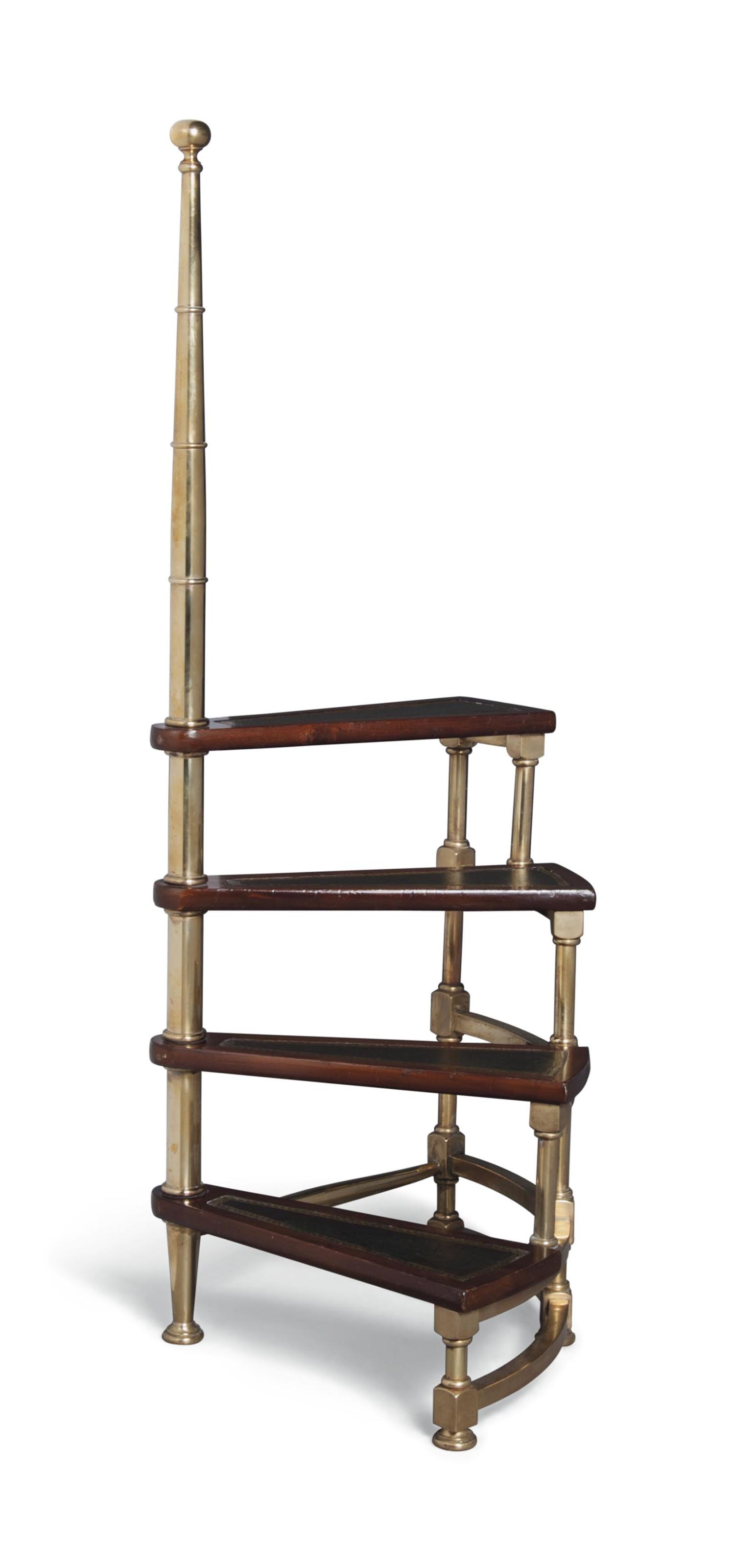 AN ITALIAN BRASS AND WALNUT LI