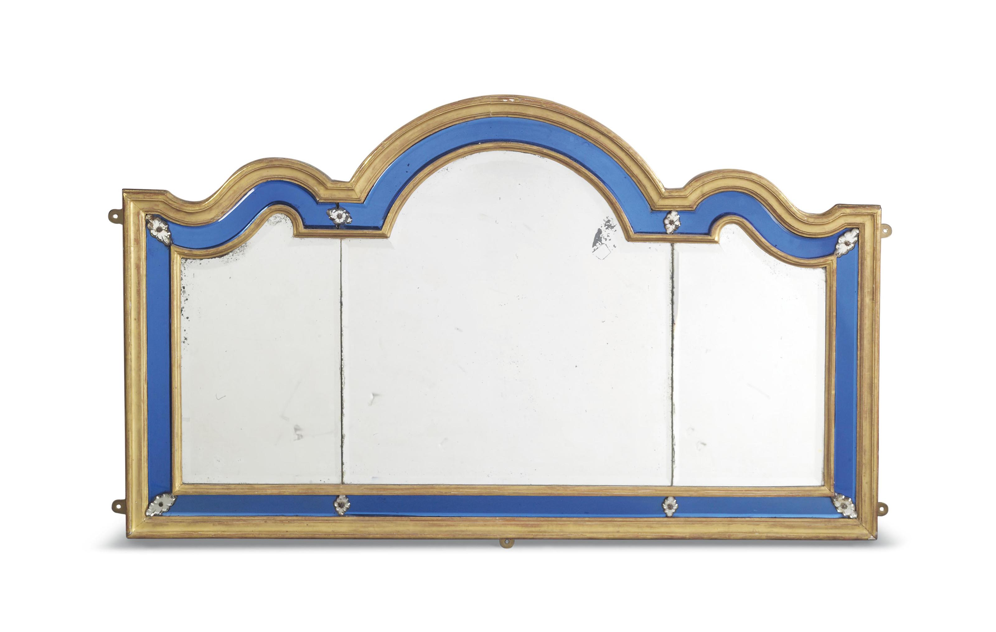 A GILTWOOD AND BLUE GLASS TRIP