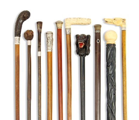 TEN NOVELTY WALKING STICKS AND