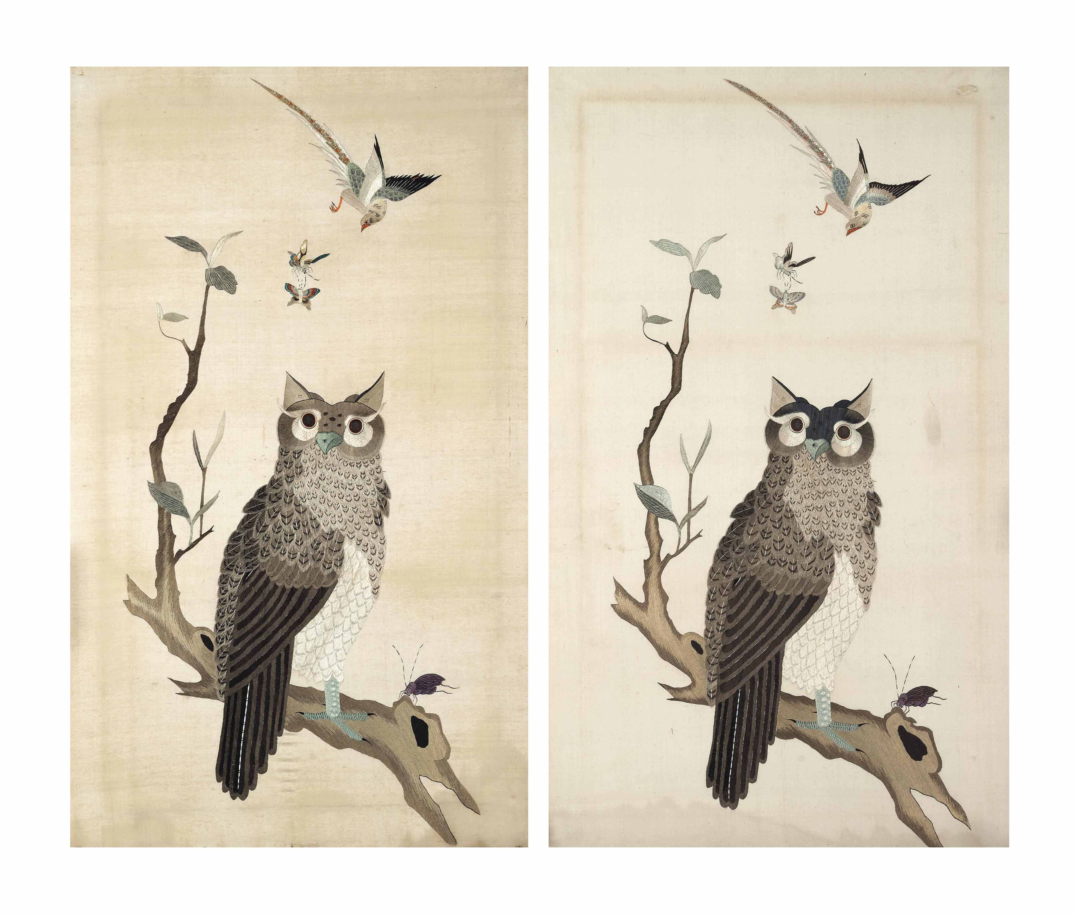 A PAIR OF CHINESE 'OWL' EMBROI
