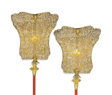 A PAIR OF CHINESE BRASS FAN-SH