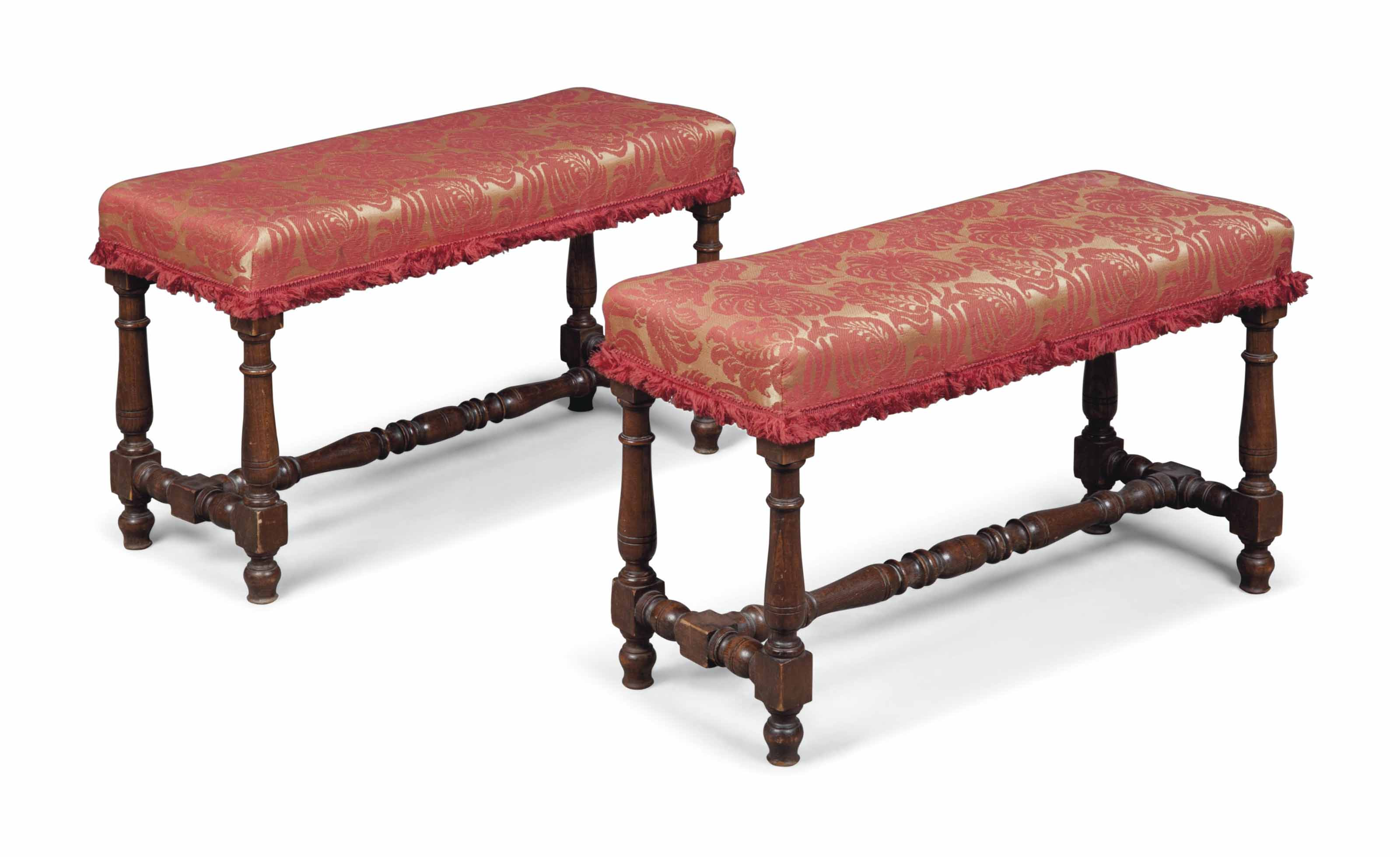 A PAIR OF ELM STOOLS