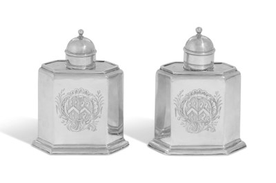 A PAIR OF GEORGE I SILVER TEA-