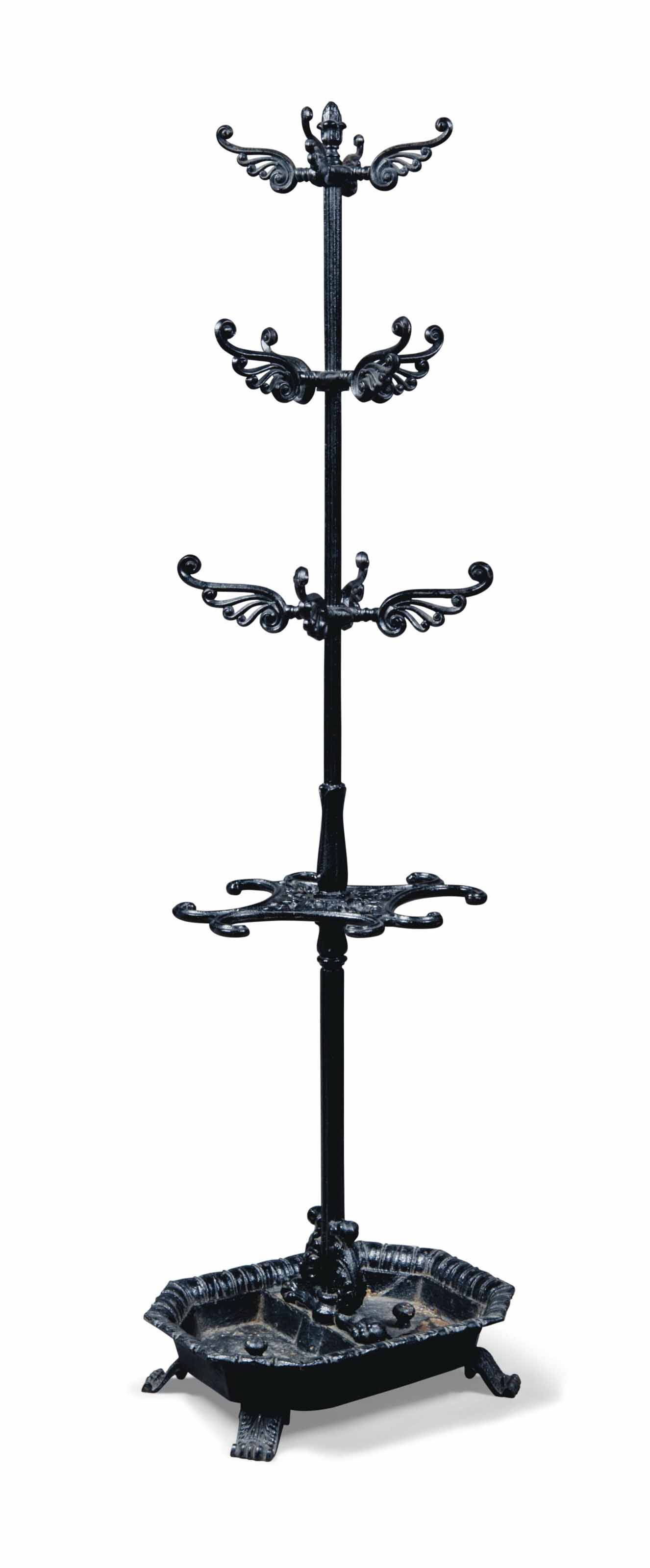 A REGENCY CAST-IRON HALL STAND