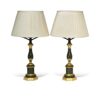 A PAIR OF CHARLES X BRASS AND