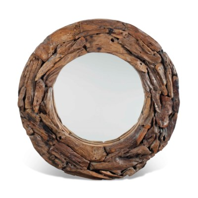A DRIFTWOOD OVAL MIRROR
