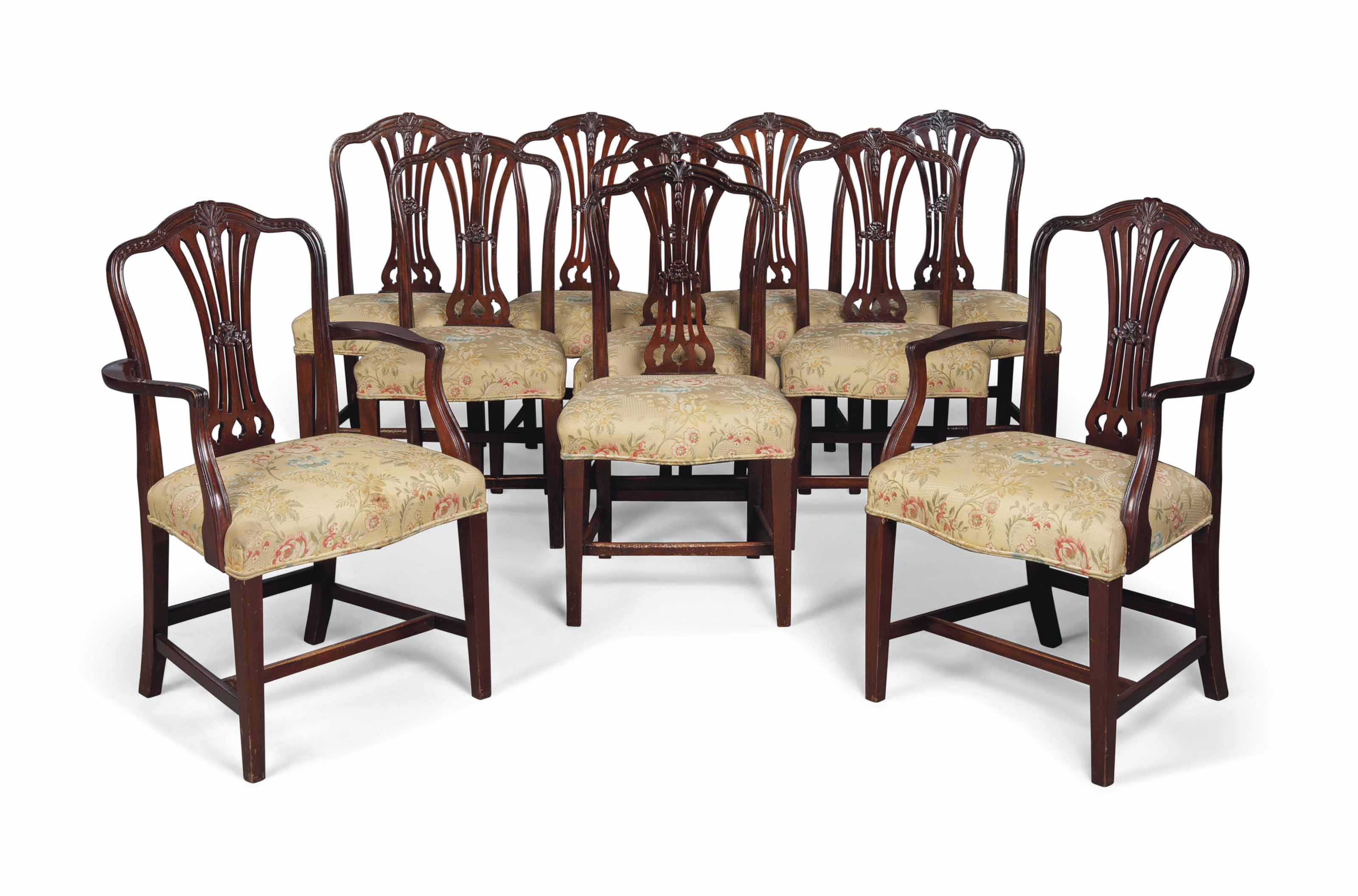A SET OF TEN MAHOGANY DINING C