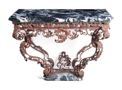 A FRENCH WROUGHT-IRON CONSOLE