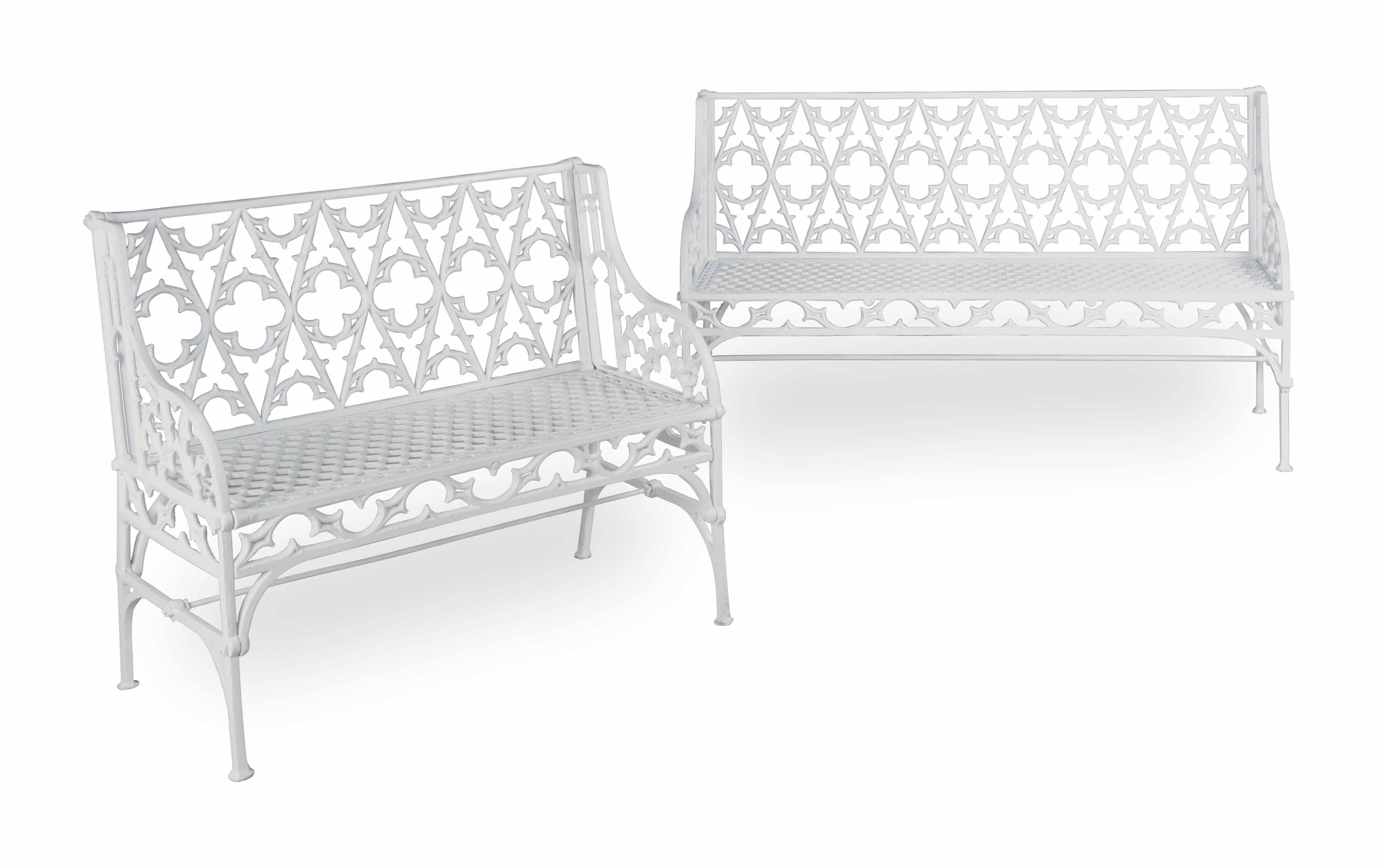 TWO FRENCH CAST-IRON GOTHIC PA
