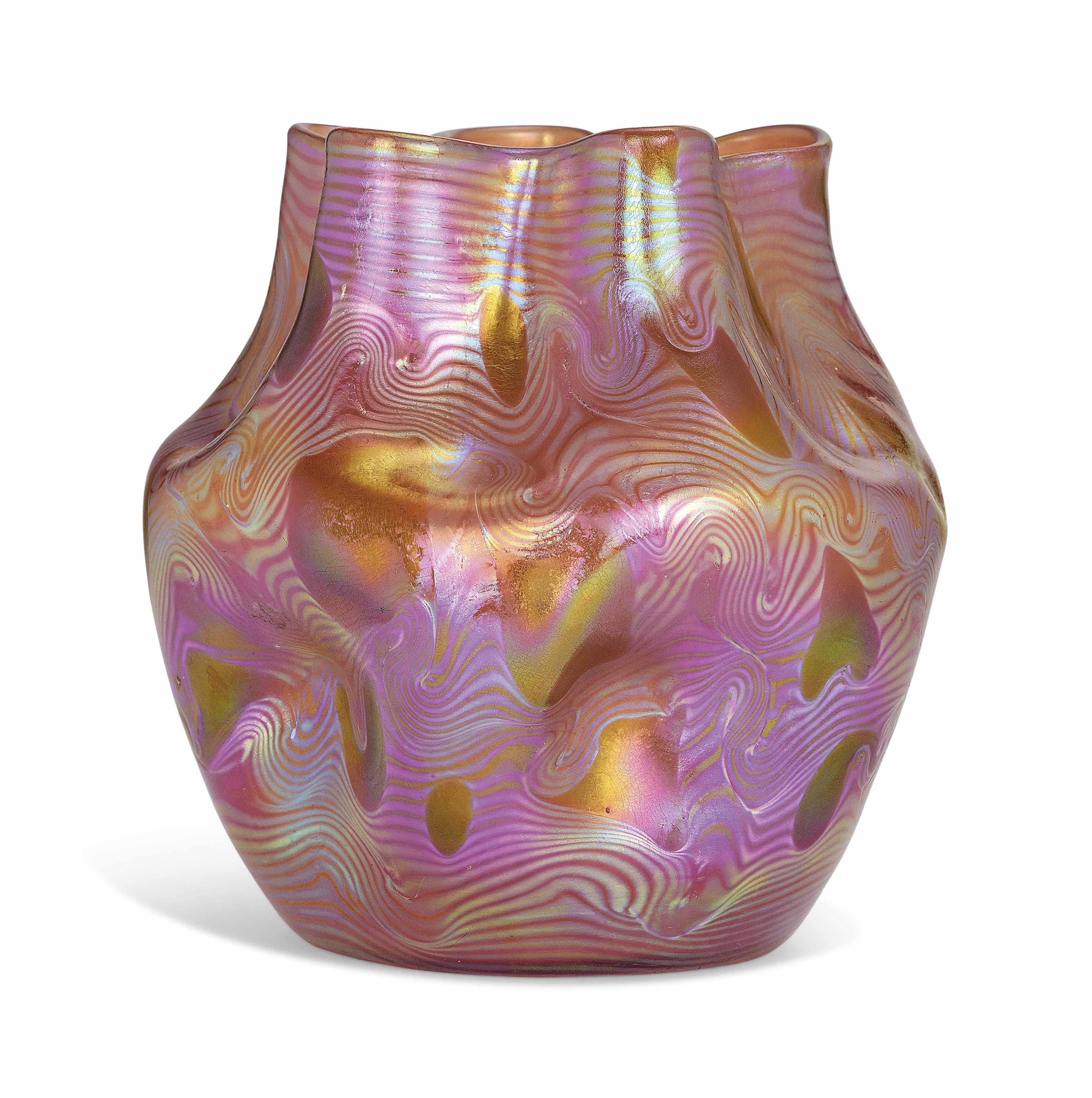 A LOETZ IRIDESCENT DIMPLED GLASS VASE WITH UNDULATING NECK