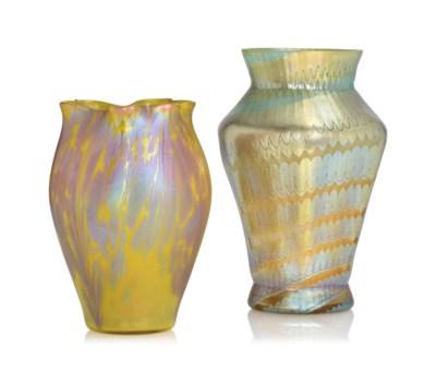 TWO LOETZ IRIDESCENT GLASS VAS
