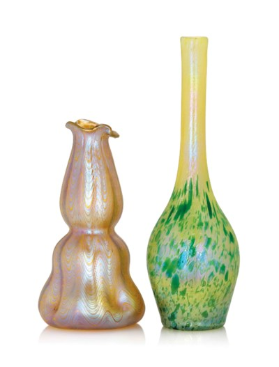 TWO LOETZ IRIDESCENT GLASS VAS