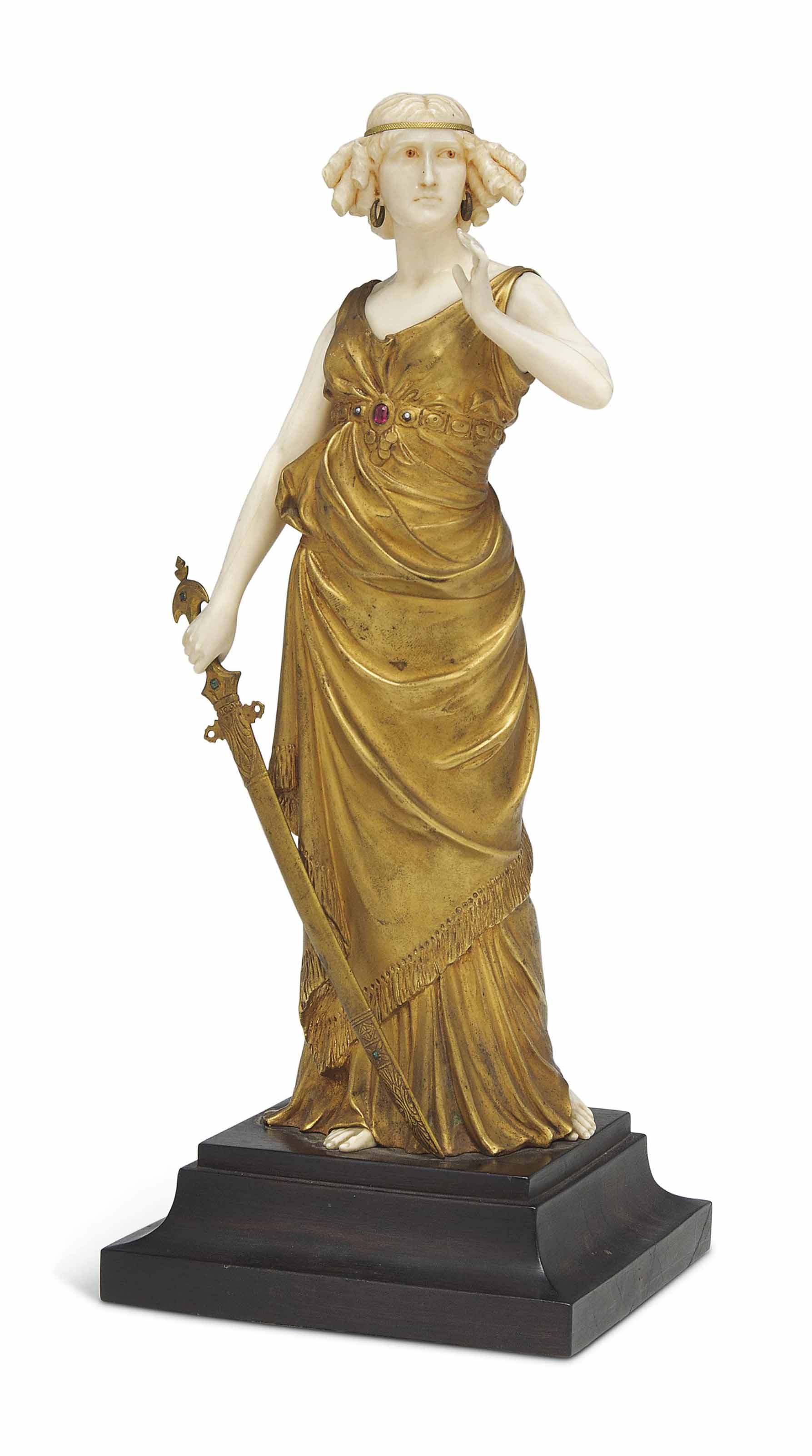 A FERDINAND PREISS (1882-1943) COLD-PAINTED BRONZE AND