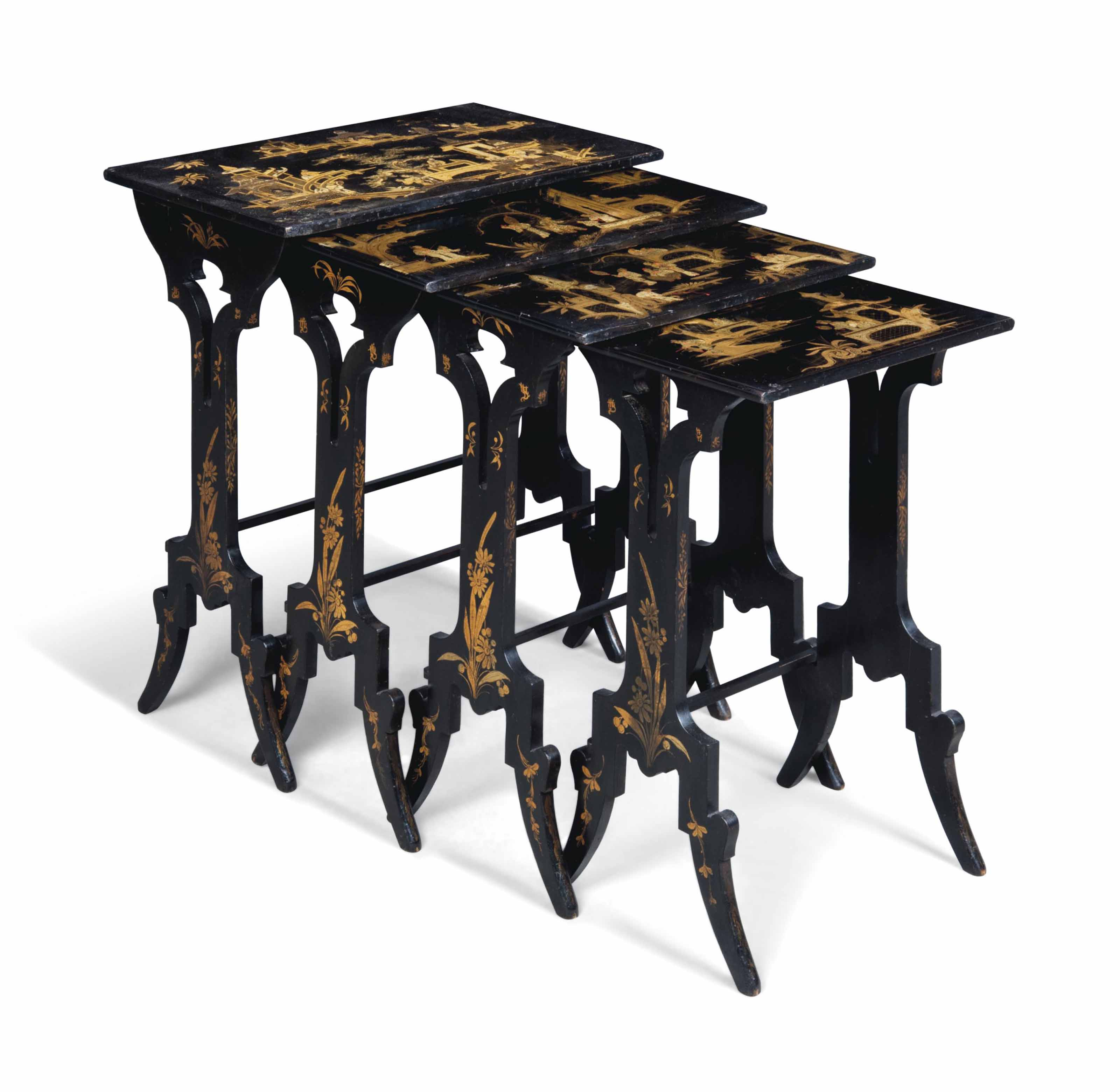 A NEST OF CHINOISERIE BLACK AN