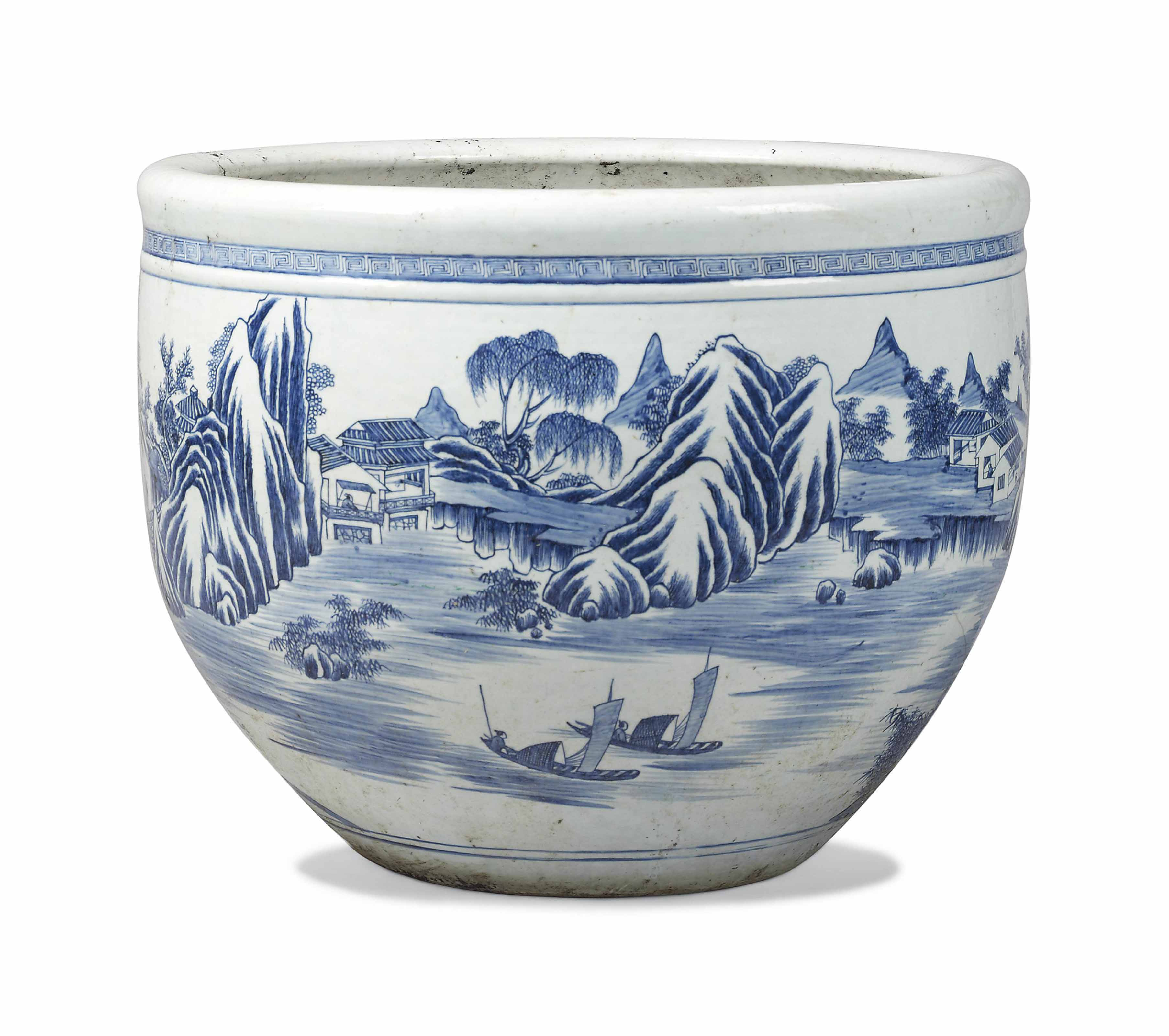 A Large Chinese Blue And White Porcelain Jardiniere 19th Century