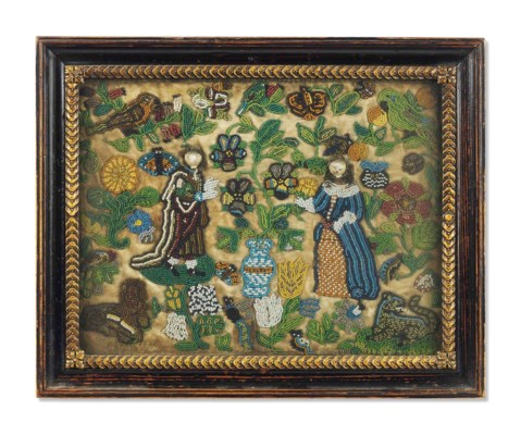 A CHARLES II BEADWORK PICTURE