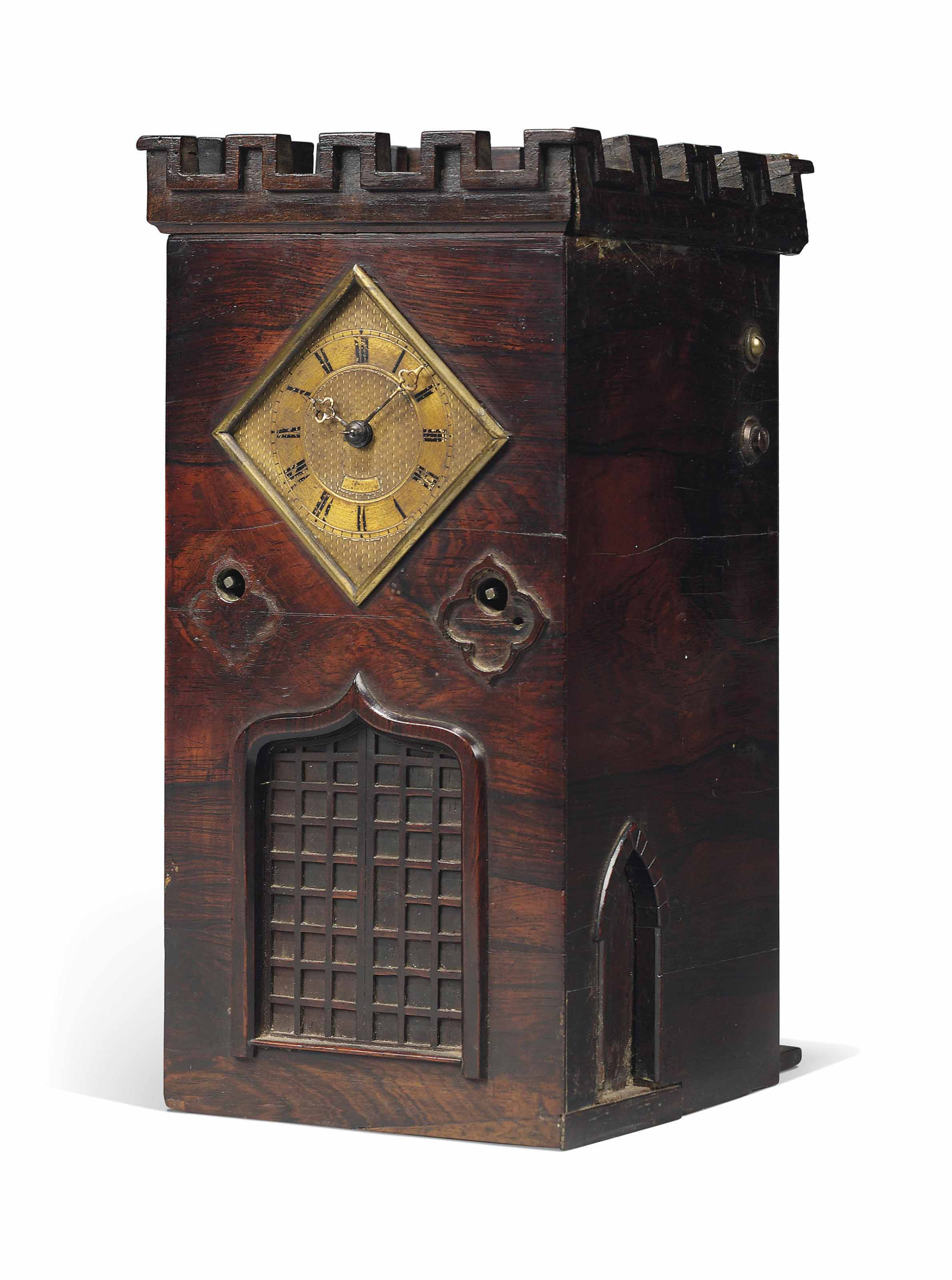 AN EARLY VICTORIAN ROSEWOOD NOVELTY TABLE CLOCK