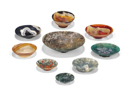 A GROUP OF AGATE OVAL DISHES