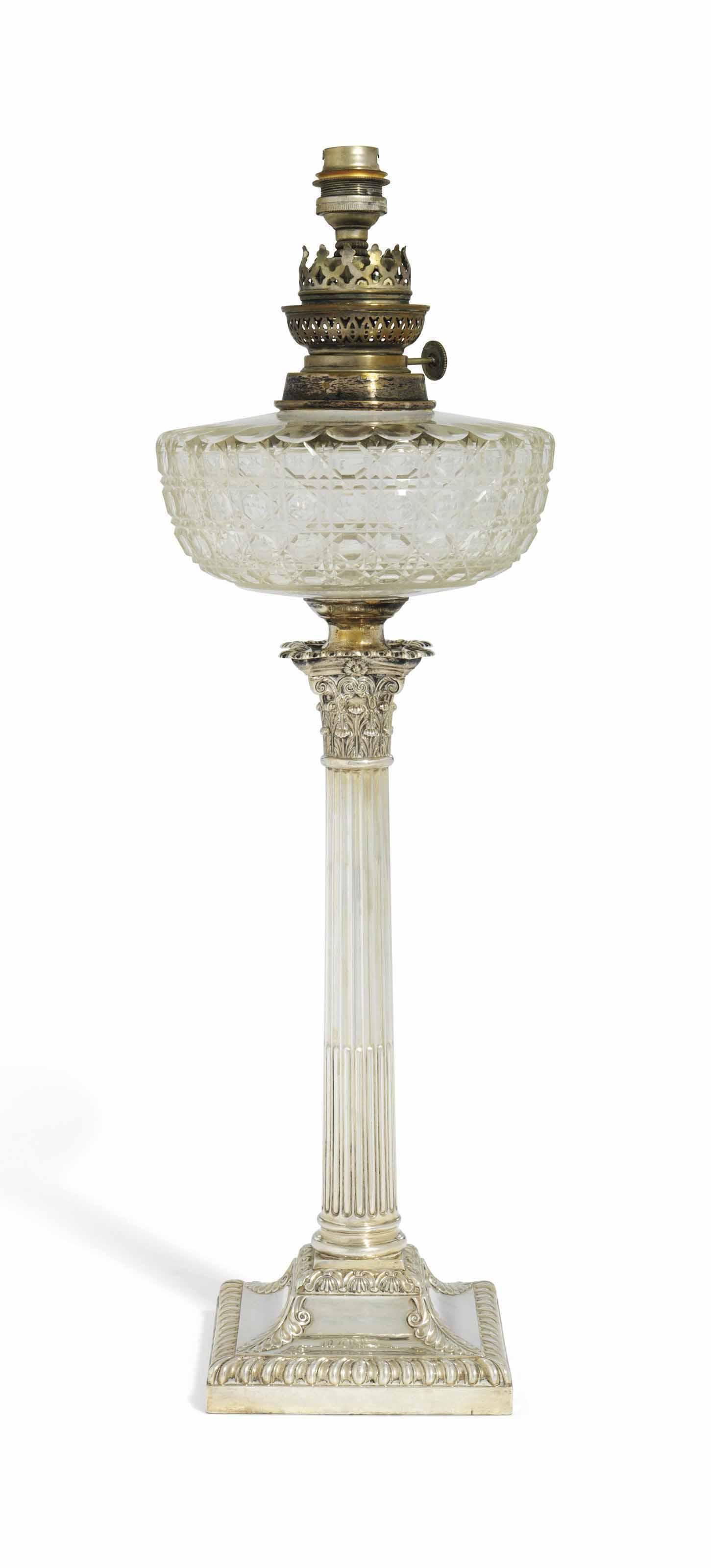 AN EDWARD VII SILVER LAMP