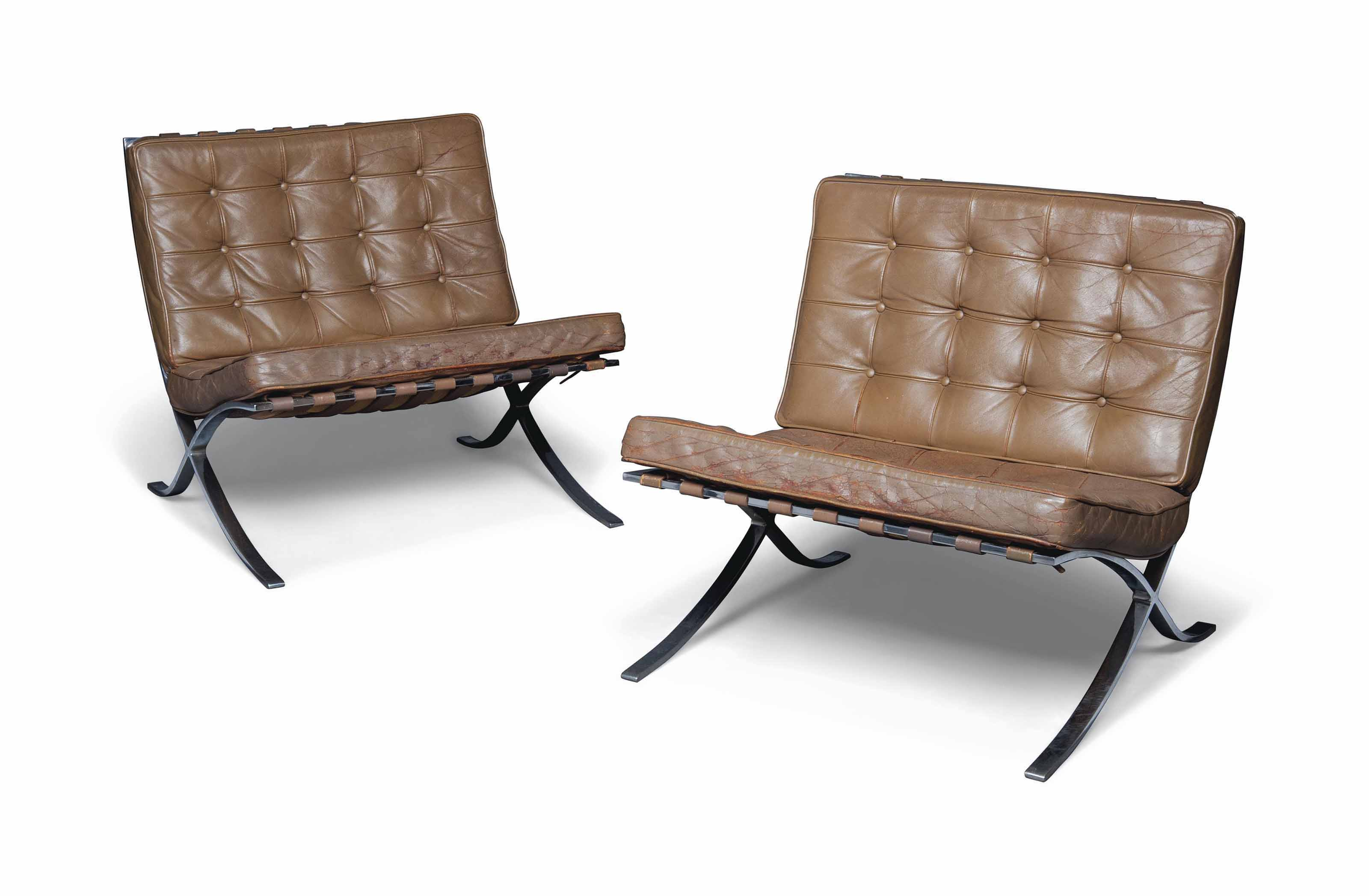 Picture of: A Pair Of Chromed Steel And Tan Leather Barcelona Chairs Designed By Ludwig Mies Van Der Rohe In 1929 Of Later Manufacture 20th Century Furniture Lighting Christie S