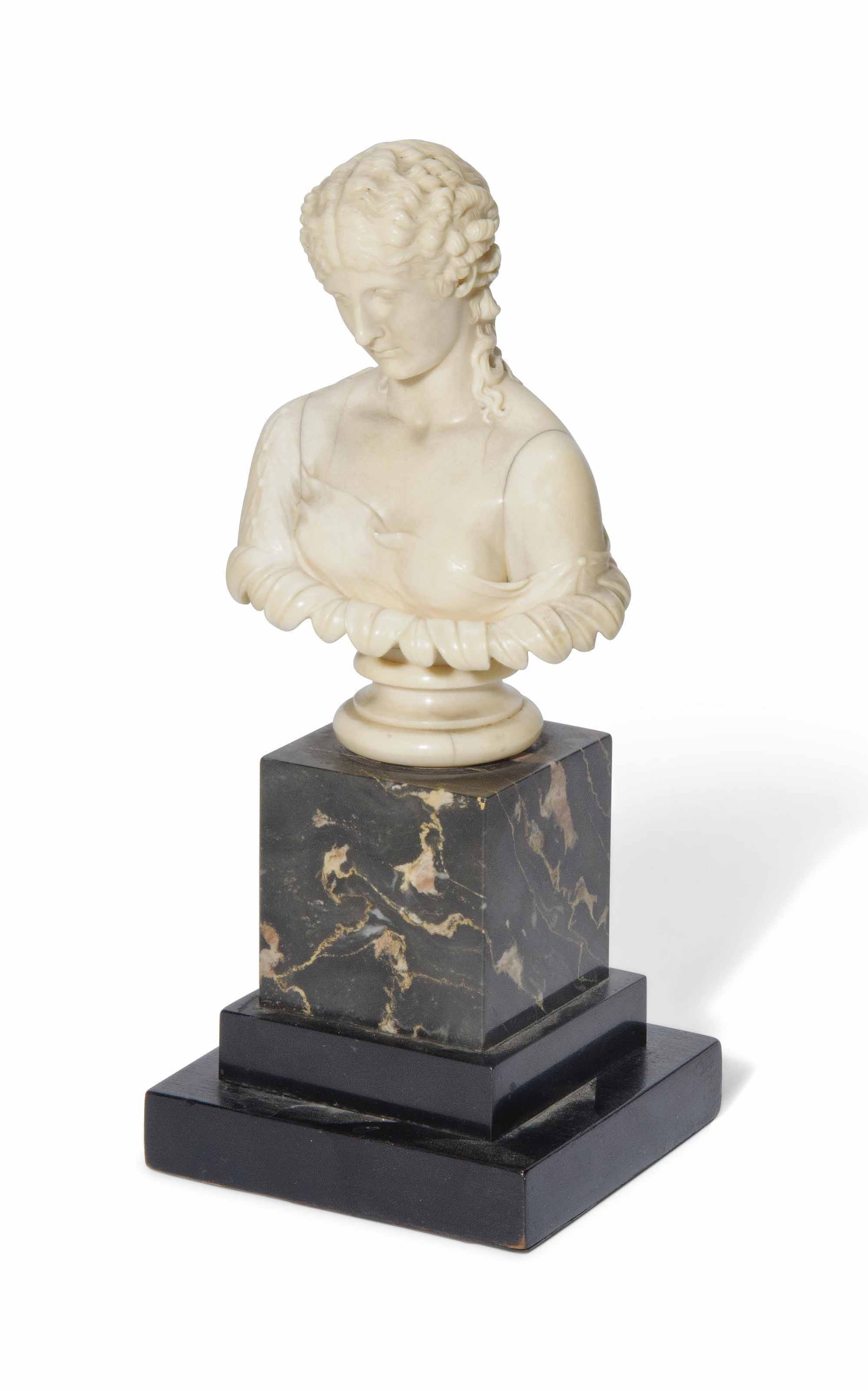 AN IVORY BUST OF CLYTIE