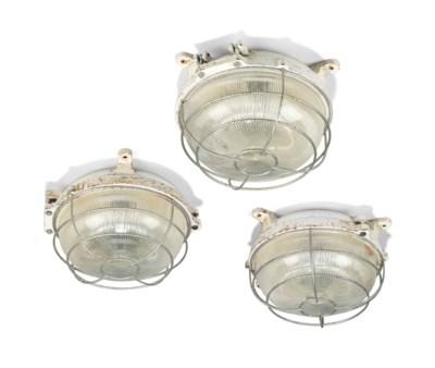 nine cast iron and holophane glass ceiling lights mid. Black Bedroom Furniture Sets. Home Design Ideas