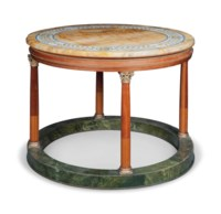 A GILT-METAL-MOUNTED GRAINED AND MARBLEISED CENTRE TABLE