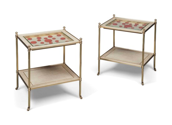 A PAIR OF GILT-METAL TWO-TIER