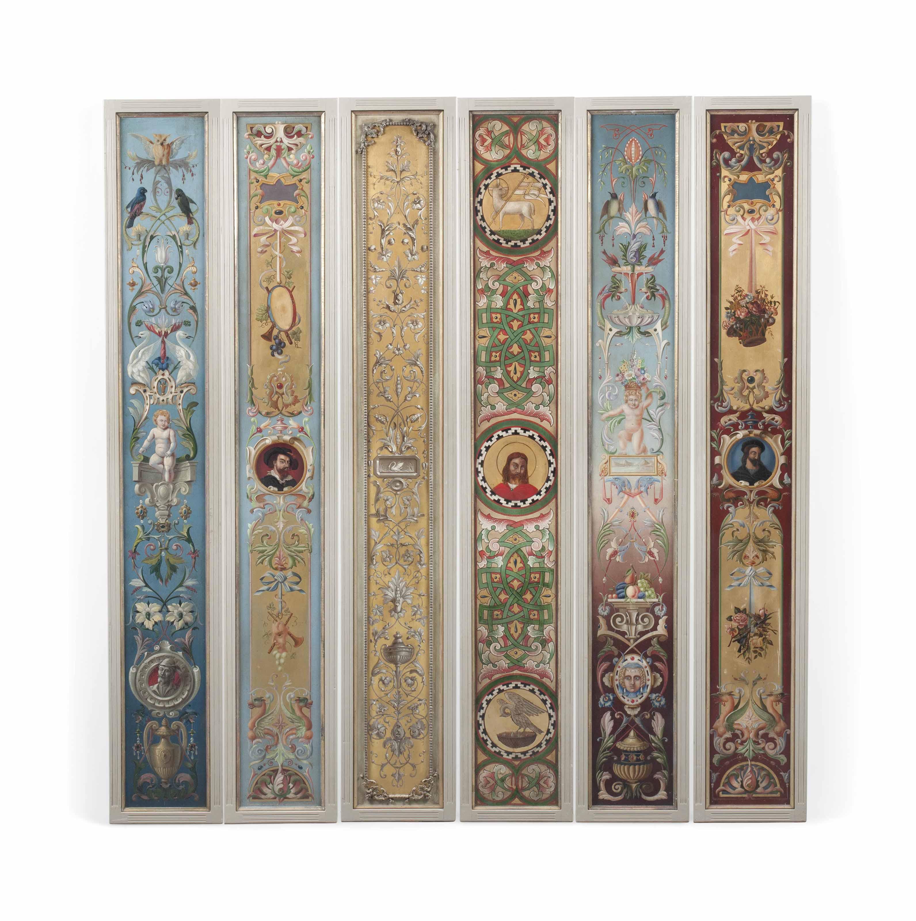SIX ENGLISH POLYCHROME-DECORATED WALL PANELS