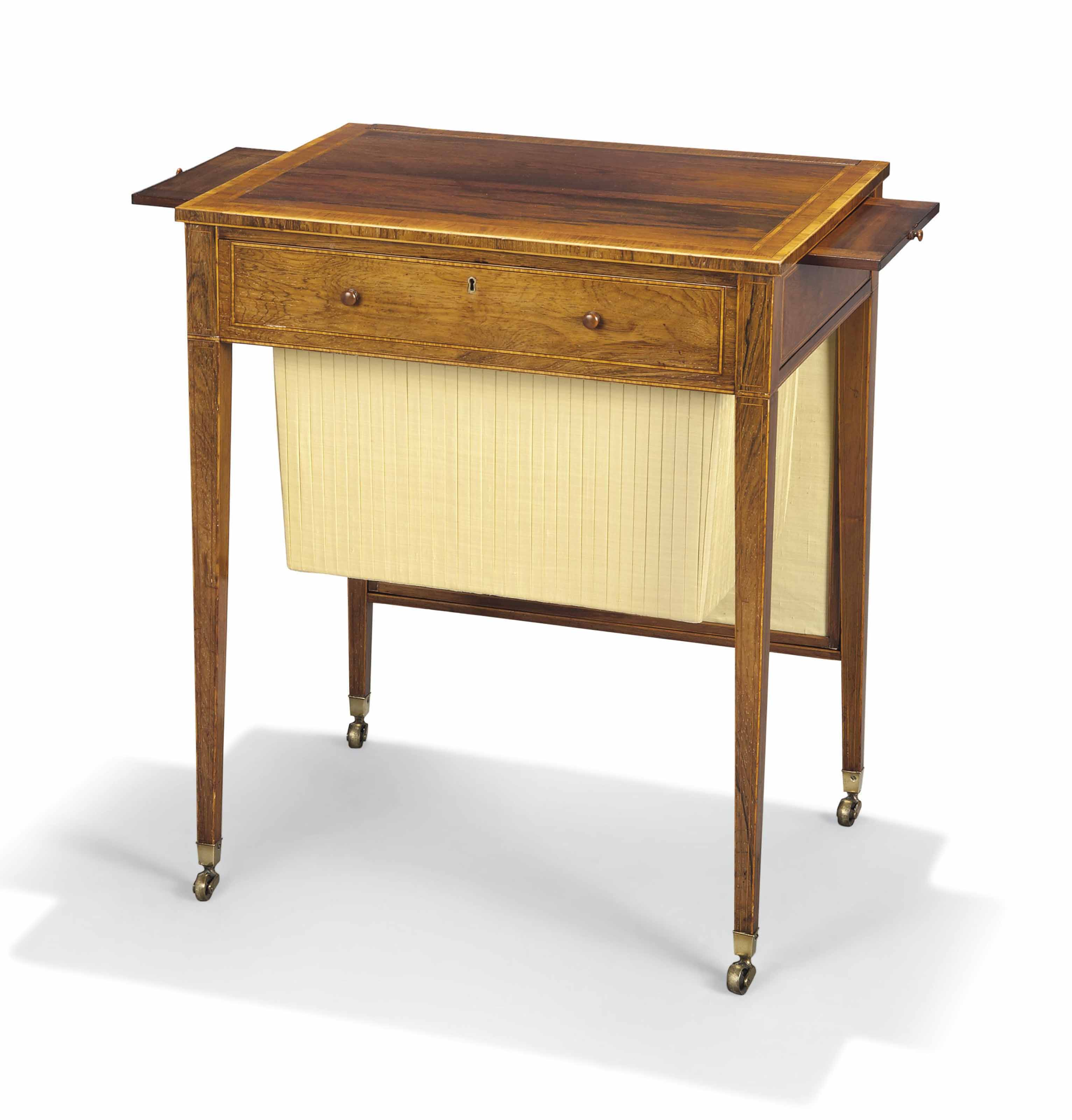 A REGENCY ROSEWOOD AND TULIPWOOD CROSS-BANDED LADY'S WRITING...