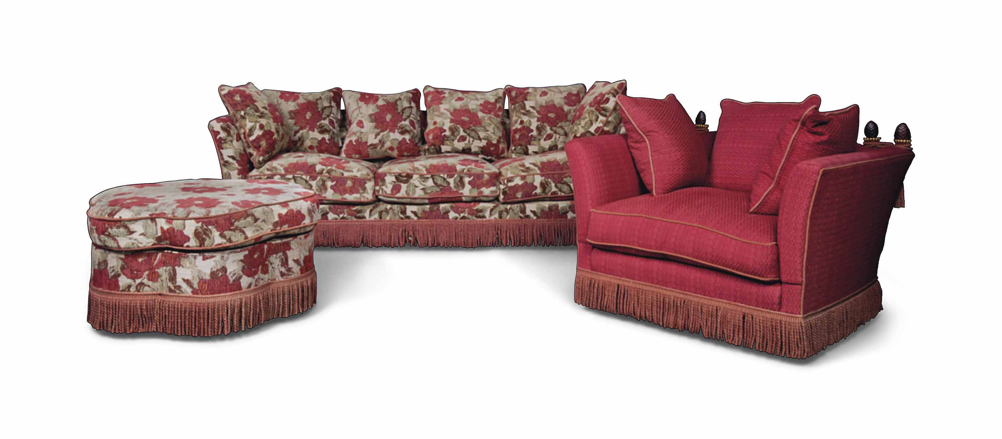A LARGE 'KNOLE' SOFA WITH MATC