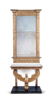 A GILTWOOD MIRROR AND ASSOCIAT