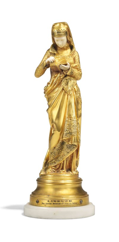 A FRENCH GILT-BRONZE AND IVORY