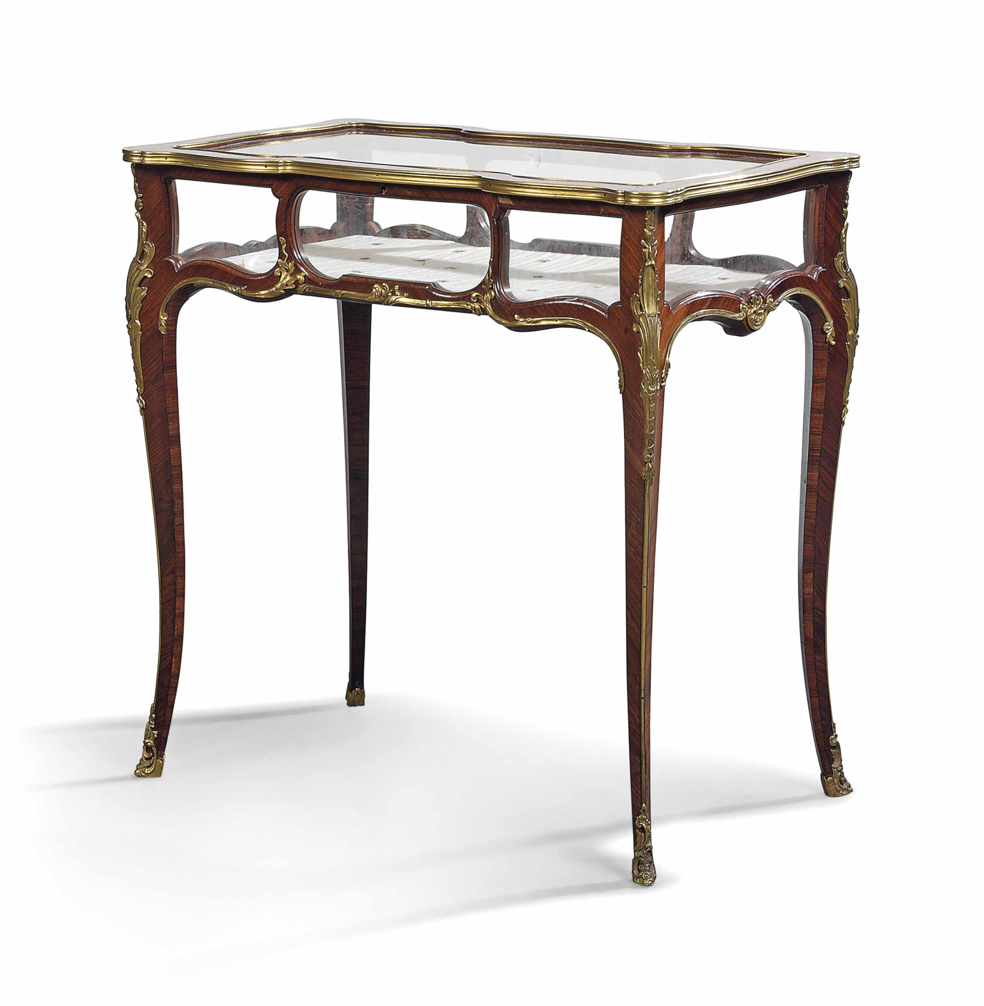 A FRENCH ORMOLU-MOUNTED KINGWOOD VITRINE-TABLE