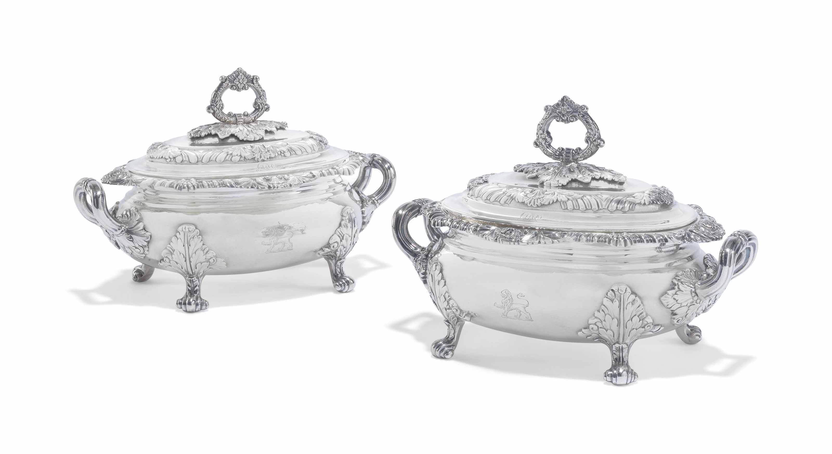 A PAIR OF GEORGE IV SILVER SAUCE-TUREENS AND COVERS