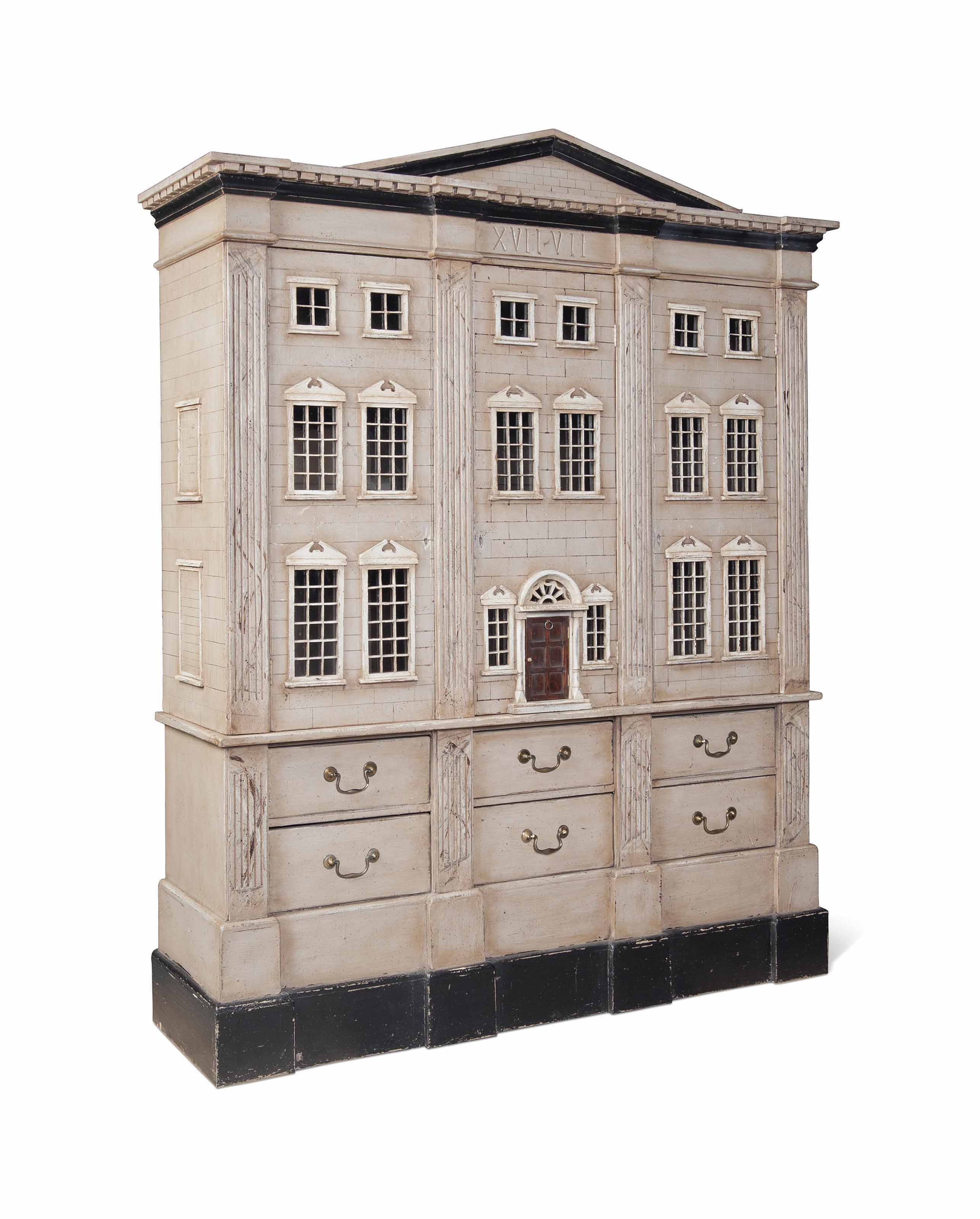 A LARGE PAINTED CUPBOARD MODEL