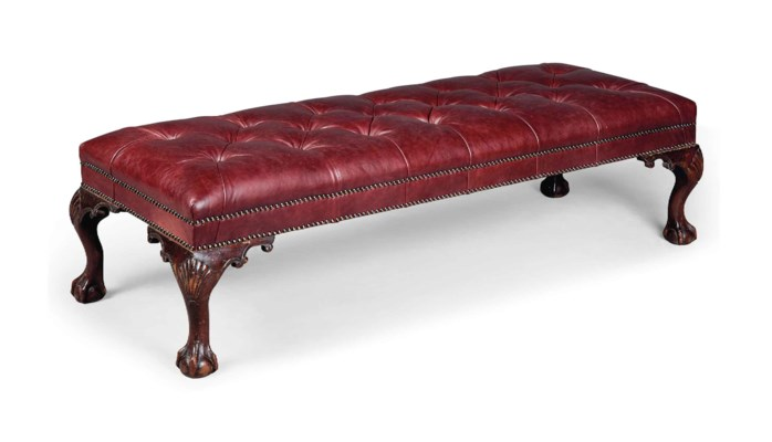 A RED BUTTONED-LEATHER LONG ST