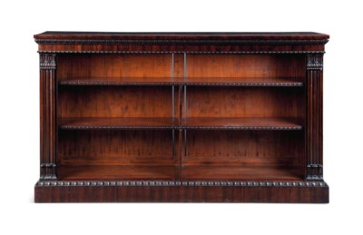 A MAHOGANY OPEN BOOKCASE