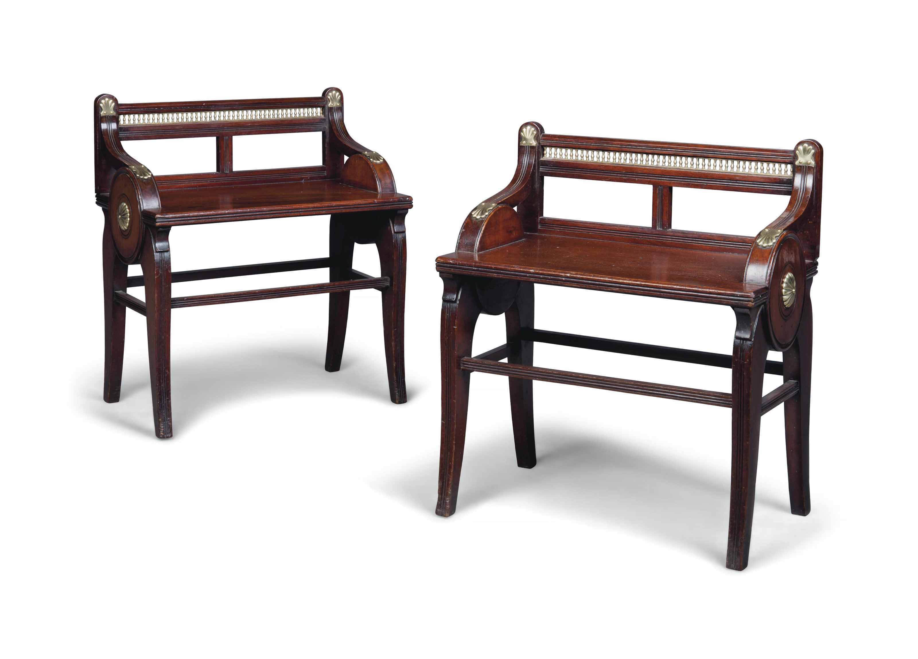 A PAIR OF LATE VICTORIAN BRASS-MOUNTED MAHOGANY HALL SEATS