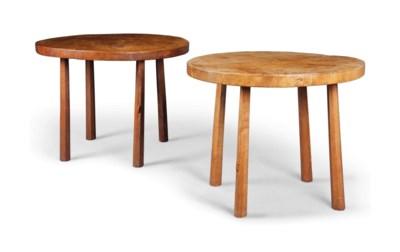 A PAIR OF ADZED OAK TABLES
