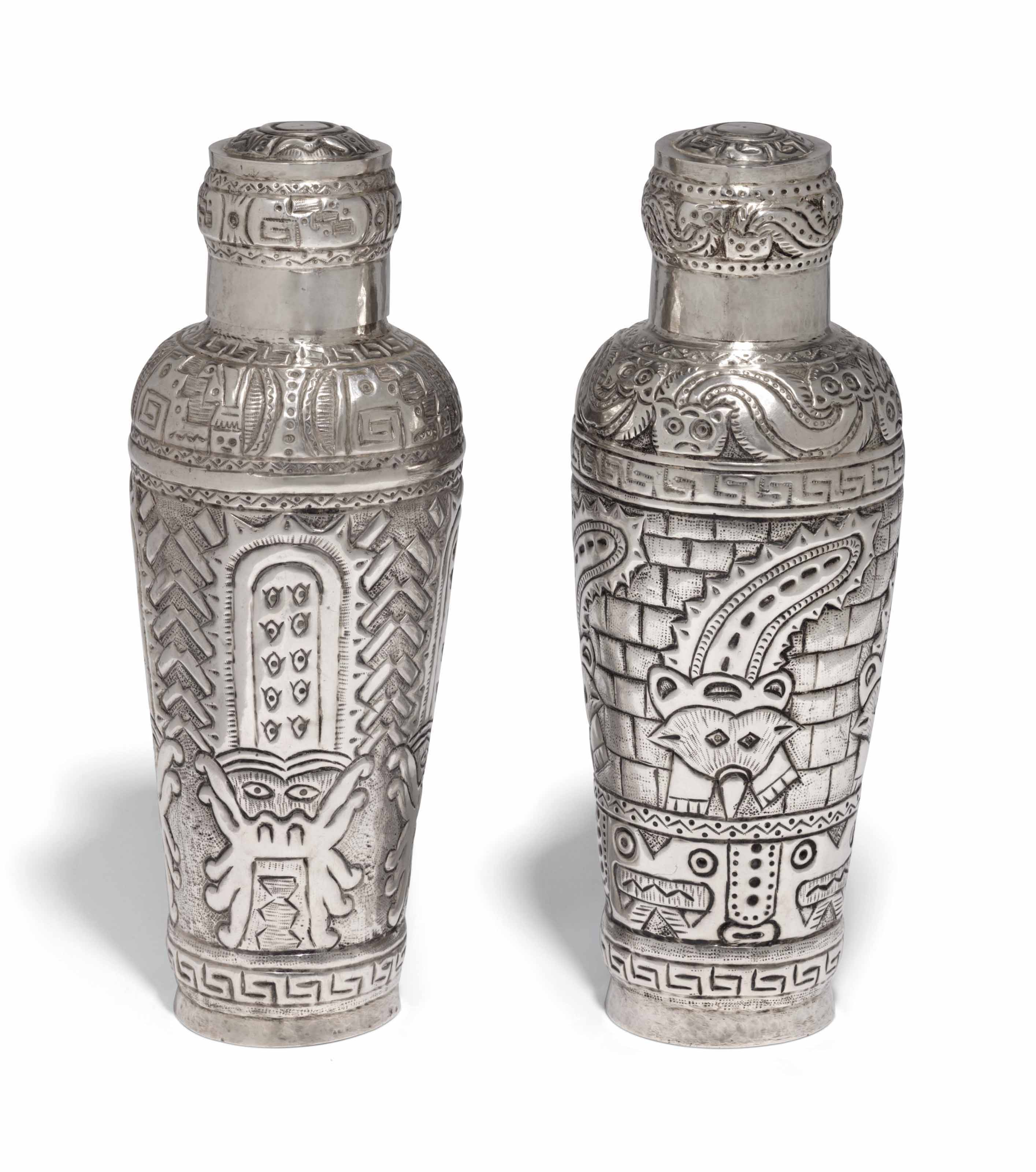 A PAIR OF PERUVIAN SILVER COCK