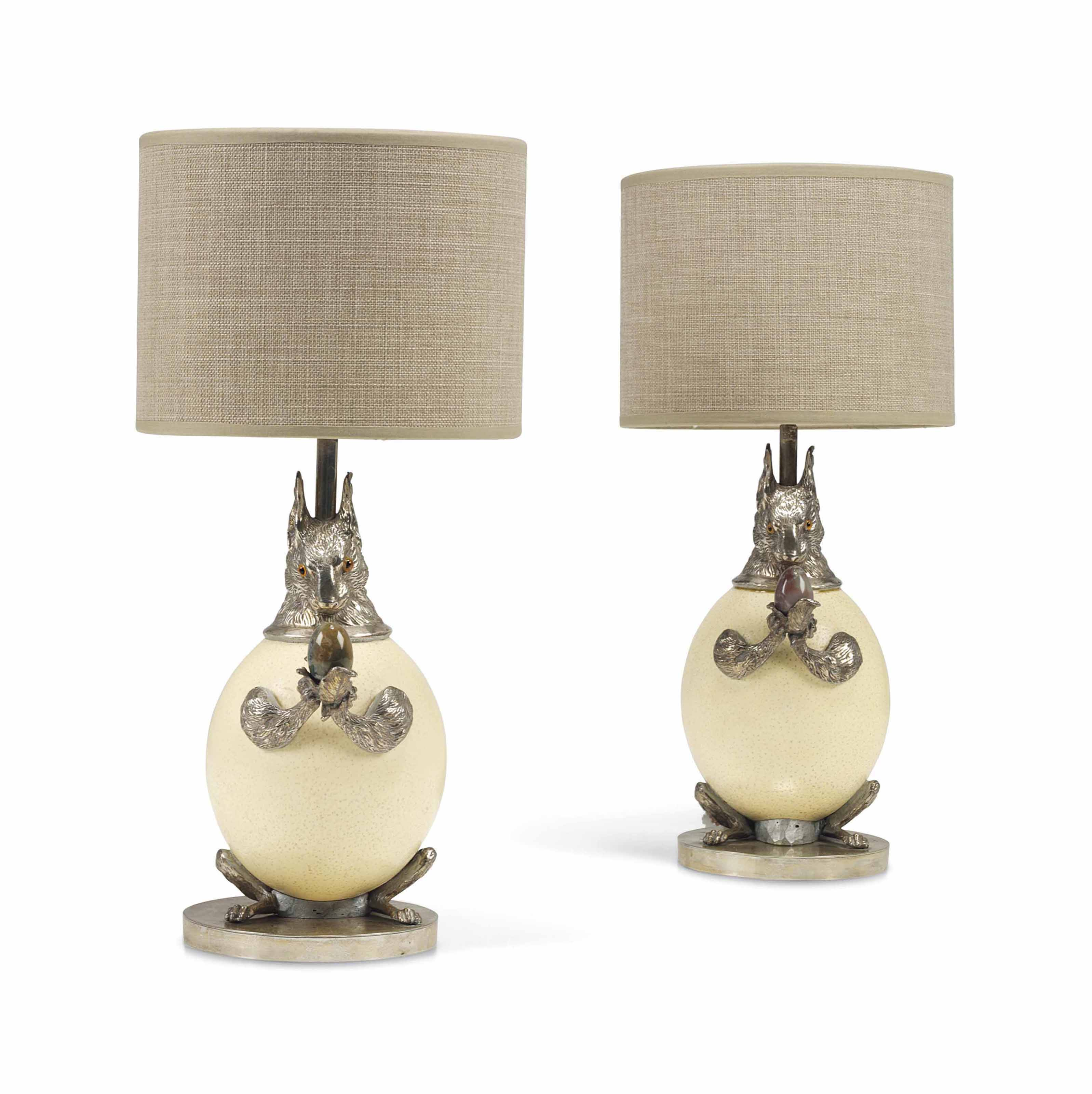 A PAIR OF ANTHONY REDMILE 'SQUIRREL' TABLE LAMPS